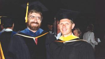 Graduation day, Eric Aasen with Professor Medrano, 1990
