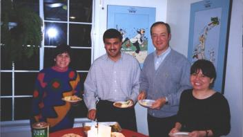 Christmas party: Alma Islas, Deven Mistry, Pablo Corva, Nora Vergara, 1998