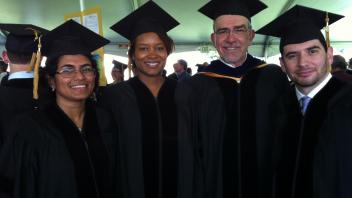 Graduation day: Saumya Wickramasinghe, Rashida Lathan and Rodrigo Gularte with Professor Medrano, June 2012