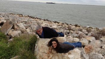 Juan Medrano and Angela Canovas planking in Galveston, Texas, 2013