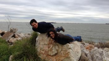 Ricardo Verdugo and Angela Canovas planking in Galveston, Texas, 2013