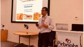 Dr. Zhou presenting at the PirBright Institute