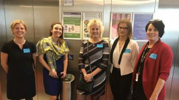 "Dr. Van Eenennaam, Dr. Mariette Andersson (Swedish University of Agricultural Sciences) and Dr. Heather McNairn (Agriculture and Agri-food Canada in Ottawa, Ontario) at the ""Innovation in Agriculture: Women Pioneers at the Frontiers of Science"" forum at the EU Parliament in Brussels"