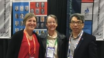 Dr. Makagon, Dr. Bradley (Treasurer) and Dr. Ning Yang (President) at IPPE