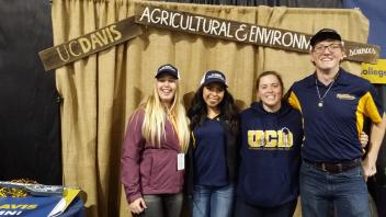 Kat March, Nathalie Corpus, Skylar Campbell and Jared Hickory, AgEd and Animal Science students who helped promote CAES at the World Ag Expo