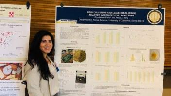Guadalupe Péna at the CA Animal Nutrition Conference with her 1st place Graduate Student Poster