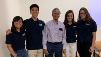 Vivian Chu, Kevin Do,  Program Director Professor Subramaniam Muralidharan, Maria Gonzalez and Abigail Pfefferlen at the UCD VIP Annual Student Conference