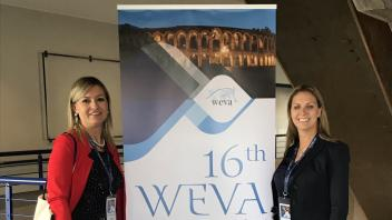 Dr. Amy Mclean and colleague, Dr. Emmanuela Vaile from University of Torino Veterinary Teaching Hospital, at the 16th World Equine Veterinary Congress in Verona, Italy