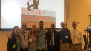 Left to right: Holly Brown, Iowa State University, Dr. Marco     Oviedo, Chimayo, NM, Dr. Amy McLean,, Dr. Francisco Javier  Navas González, Córdoba, Spain, Dr. Shabaan Farid, Cairo, Egypt, Dr. Eric Davis, VMTH and Dr. Harry Warner, past President American Association of Equine Practitioners.
