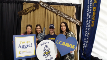 Left to right Deanne Meyer, Betsy Karle Alum and Glenn County Dairy Advisor, Emily Karle future aggie, Jennifer Heguy ANSCI Alum and San Joaquin, Stanislaus, Merced Co Dairy Advisor