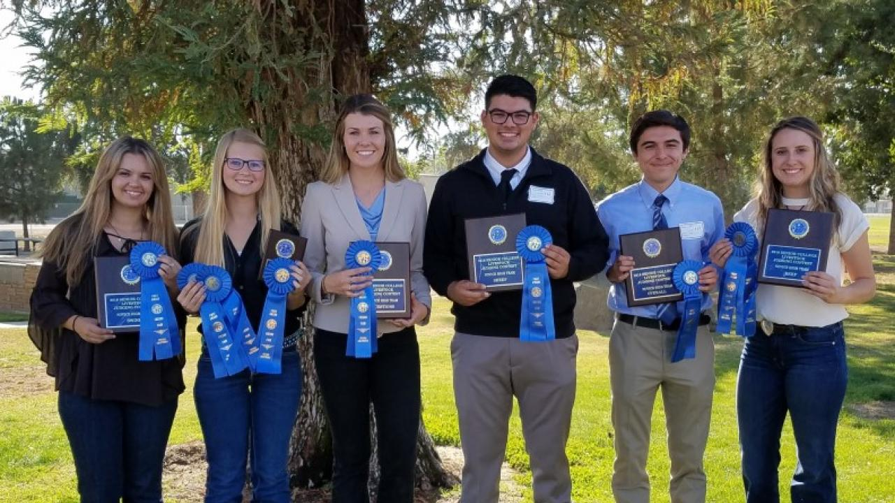 Livestock Judging Team: Megan Canel, Ashley Felsch, Catharine Renner, Jackson Sawyer, Craig Miramontes and Alia Ames in Fresno