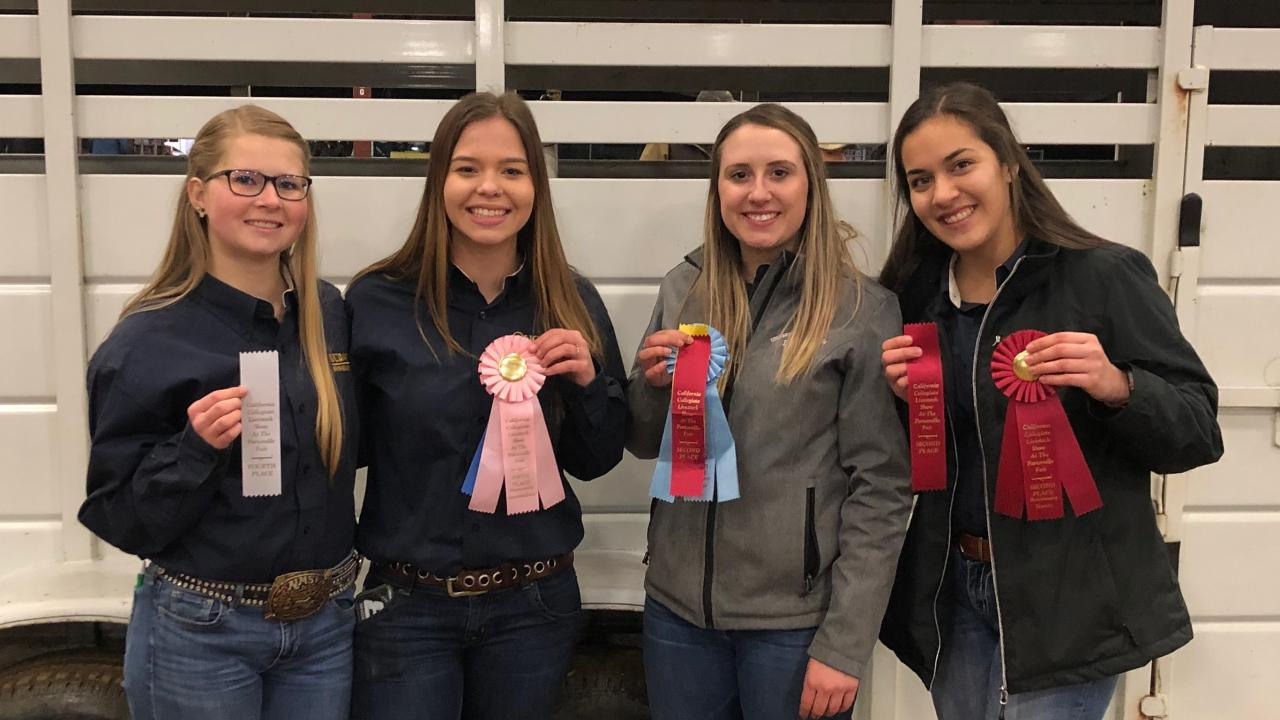 Alia Ames, Rebecca Castruita, Kate Harris, and Ashley Felsch at the California Collegiate Livestock Show