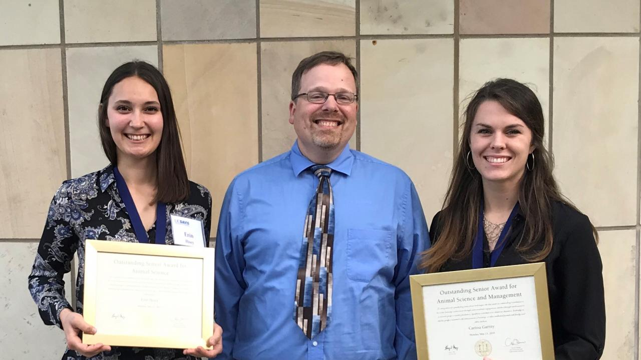 Erin Hisey, Dr. Mienaltowski and Carissa Garrity at the Outstanding Student Awards ceremony at the Mondavi Center, UCD campus