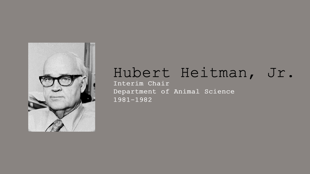 11. Hubert Heitman, jr., Interim Chair of Department of Animal Science, 1981-1982.