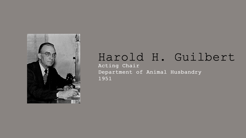 3. Harold H. Guilbert, Acting Chair of Department of Animal Husbandry in 1951.