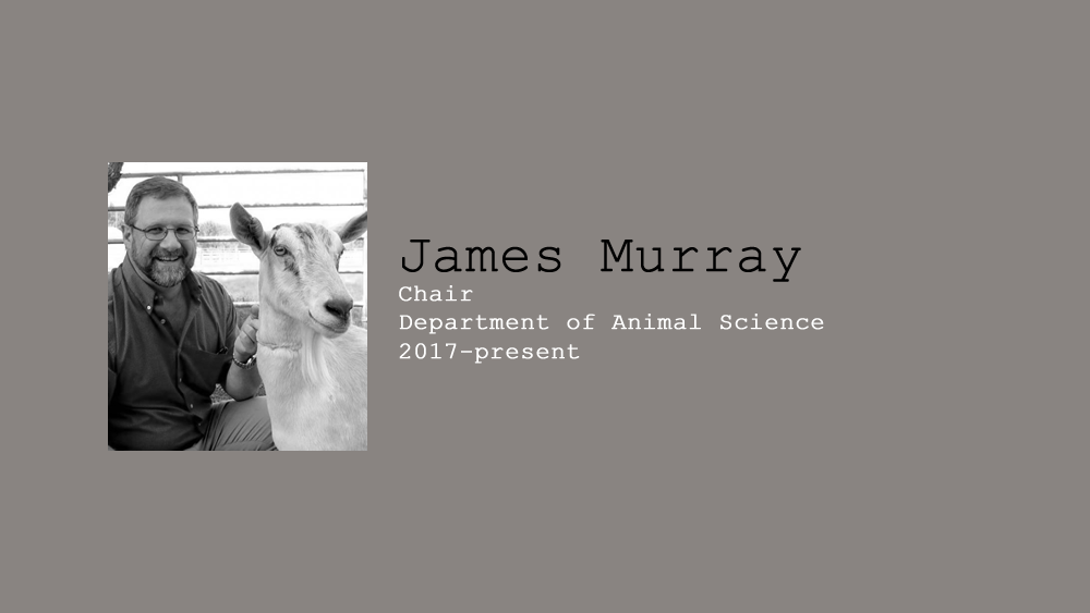 19. James Murray,Chair of Department of Animal Science, July 2017- Present.